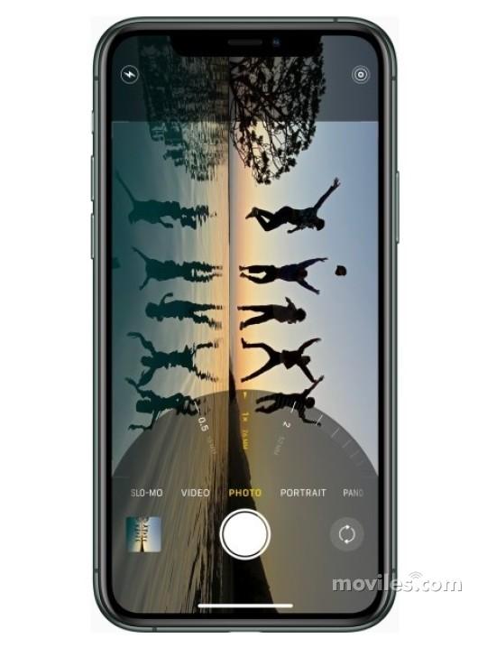 Fotografía grande Varias vistas del Apple iPhone 11 Pro Max Argent y Gris spatial y Doré y Vert. En la pantalla se muestra Varias vistas