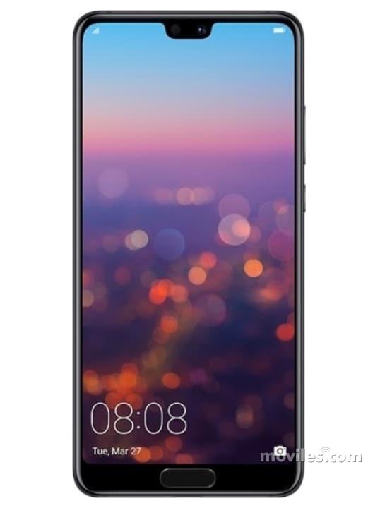 Fotografía grande Varias vistas del Huawei P20 Bleu y Noir y Rose. En la pantalla se muestra Varias vistas