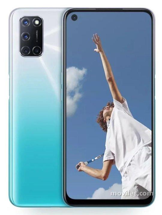 Fotografía grande Varias vistas del Oppo A53 (2020) Bleu y Noir. En la pantalla se muestra Varias vistas