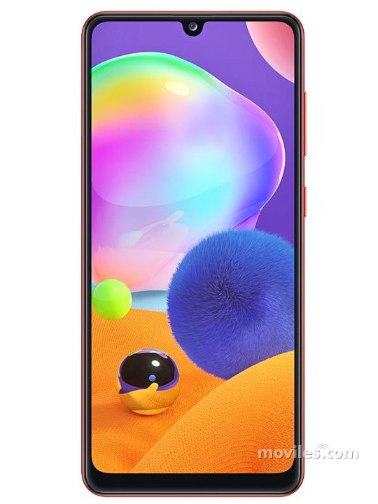 Fotografía grande Varias vistas del Samsung Galaxy A31 Bleu y Blanc y Noir y Rouge. En la pantalla se muestra Varias vistas