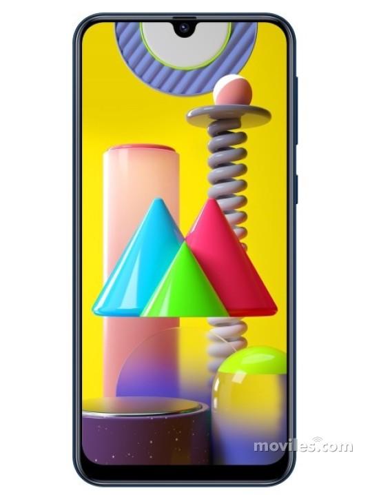 Fotografía grande Varias vistas del Samsung Galaxy M31 Bleu y Noir. En la pantalla se muestra Varias vistas