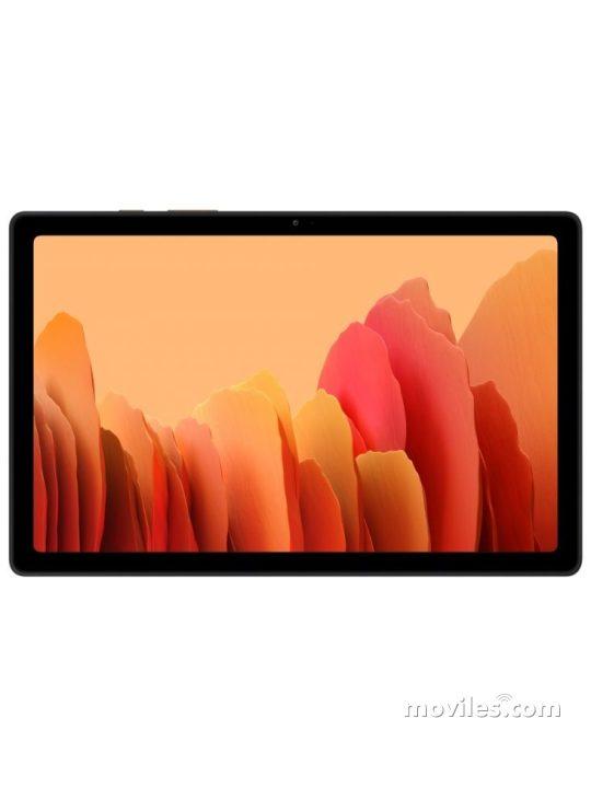 Fotografía grande Varias vistas del Tablet Samsung Galaxy Tab A7 10.4 (2020) Argent y Gris foncé y Doré. En la pantalla se muestra Varias vistas